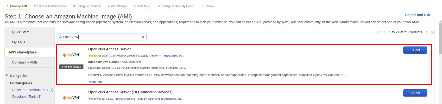 Select Open VPN
